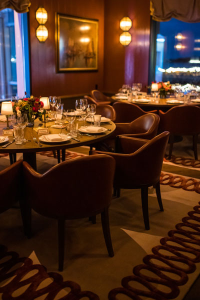Carne Mare private dining room featuring the Ruffle Rouge rug by Martin Brudnizki for The Rug Company