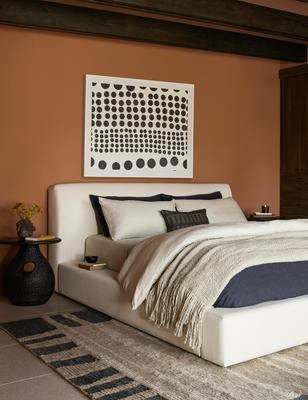 The Gareth rug styled with the Clayton platform bed and Dots Print by Kent Youngstrom.