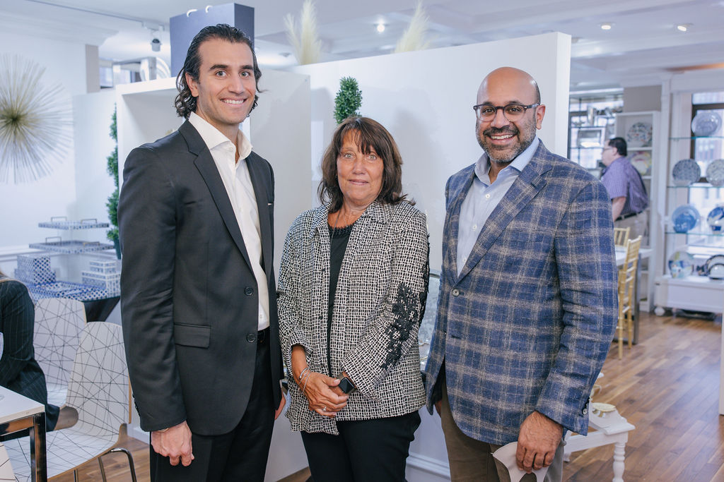 Wayfair co-founder and CEO Niraj Shah (right) with Linda Levine, SVP of Godinger, in their new showroom on floor 14.