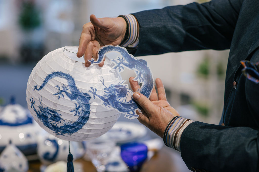 In the new Mottahedeh showroom on floor 9, hand-decoupage lanterns by chief visual officer Paul Wojcik perfectly complemented the brand's Blue Dragon introductions.