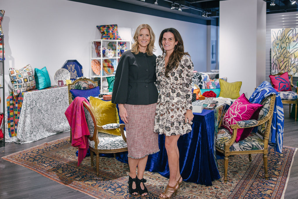 Kristi Forbes, SVP and director of Forty One Madison with Penelope Kernen, founder and CEO of the Hunt Slonem Hop Up Shop, which opened for Tabletop Show on floor 9.