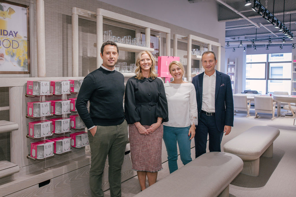 Eray Adlim, global export manager Sebla Akin and global sales & marketing director Onder Besceli from Turkish brand Lav Glass with Kristi Forbes, SVP and director of Forty One Madison (second from left)