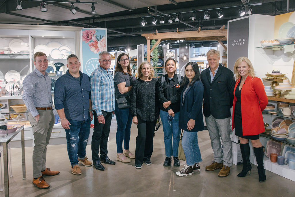 Laurie Gates (third from left), SVP of creative merchandising for Gibson, meets with the Marquee Brands team to discuss the Sur la Table license.