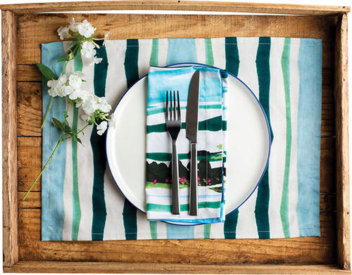 Placemat organic cotton artisan handmade luxury watercolor stripe green teal styled %28robyn boehler's conflicted copy 2019 05 29%29