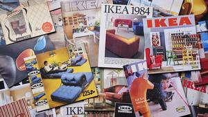 A collage of various colorful ikea catalogs from various yea