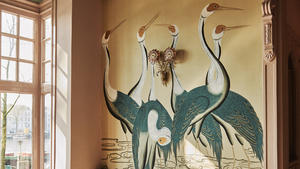 Sarus cranes hand painted wallpaper  interior by rachel van der brug   rho interiors   photo elmar krop