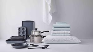 Bed bath   beyond simply essential carbon bakeware set  nylon turner and slotted  sppon  stainless steel cookware set  microdiber solid sheet set  cotton blend pillow  cotton bath towels  1.00  45.00