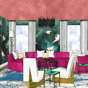 Courtney McLeod sketches us a showstopping room full of High Point Market debuts