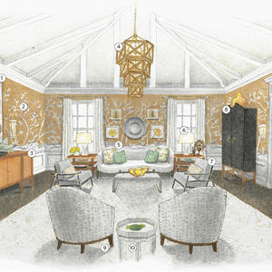 Josh Pickering sketches us a showstopping room full of High Point Market debuts