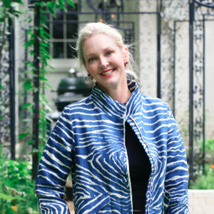 Danielle Rollins crafts clothing from high-end fabric