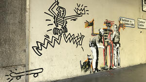 Jean louis basquiat inspired grafitti by banksy  photo by ungry young man