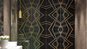 Empire nero marble   brass tile
