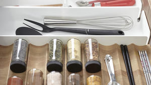 5. our drawer organization system ensures that everything has its place within our kitchen system.