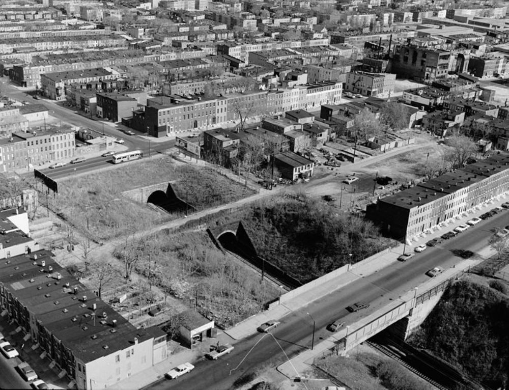 Aerial view of west portal of Baltimore and Potomac Tunnel, Baltimore, Maryland.