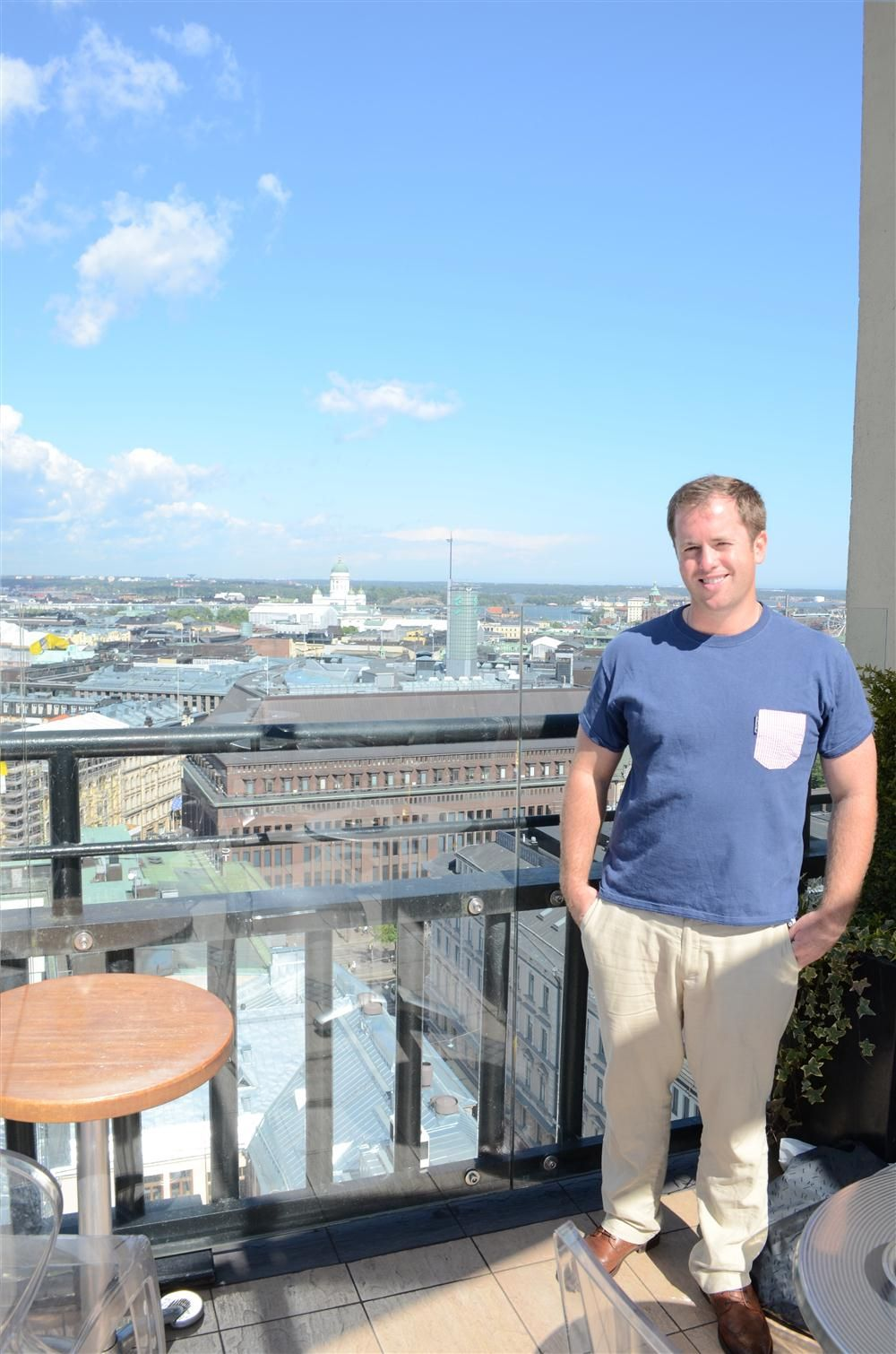 Teddy McKeon Jr.  enjoys the view of Helsinki during his week-long visit with ALLU.