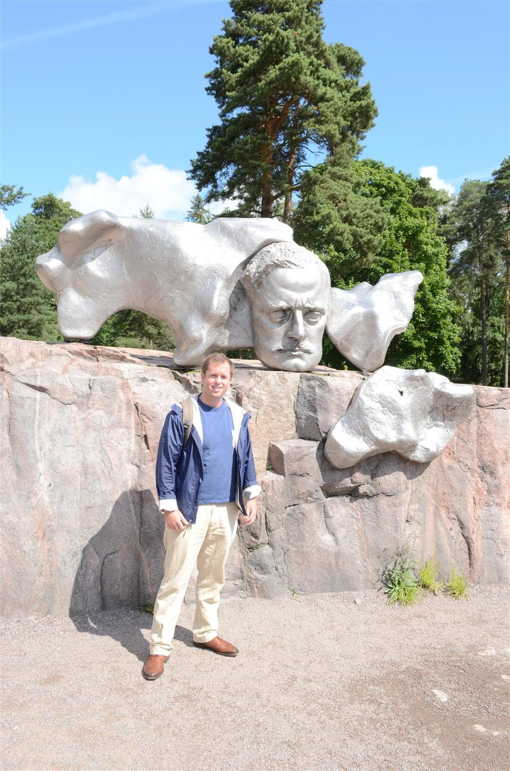 Teddy McKeon Jr. poses for a photo at the Sibelius Monument, which is dedicated to the Finnish composer Jean Sibelius.