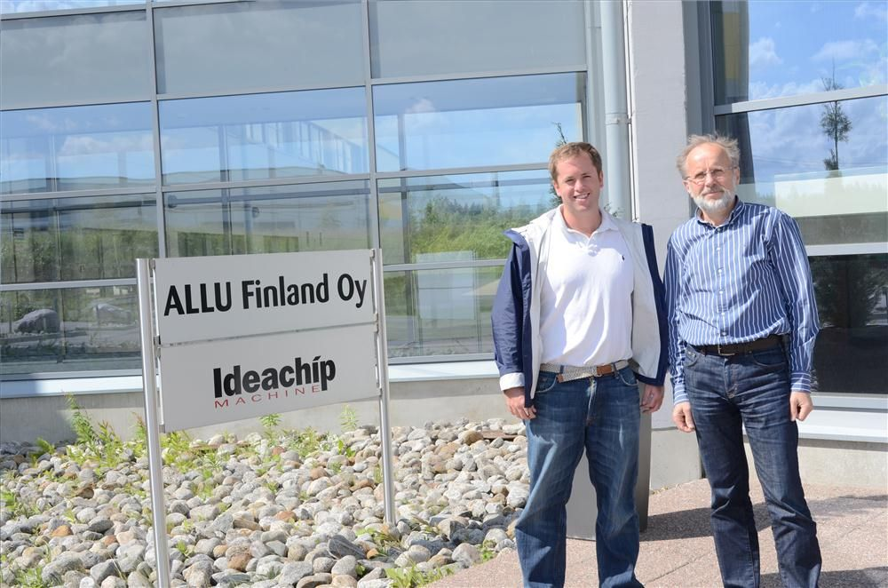 Teddy McKeon Jr. (L) and Kauko Pylväs, managing director, ALLU Group stand in front of ALLU's headquarters after the factory tour.