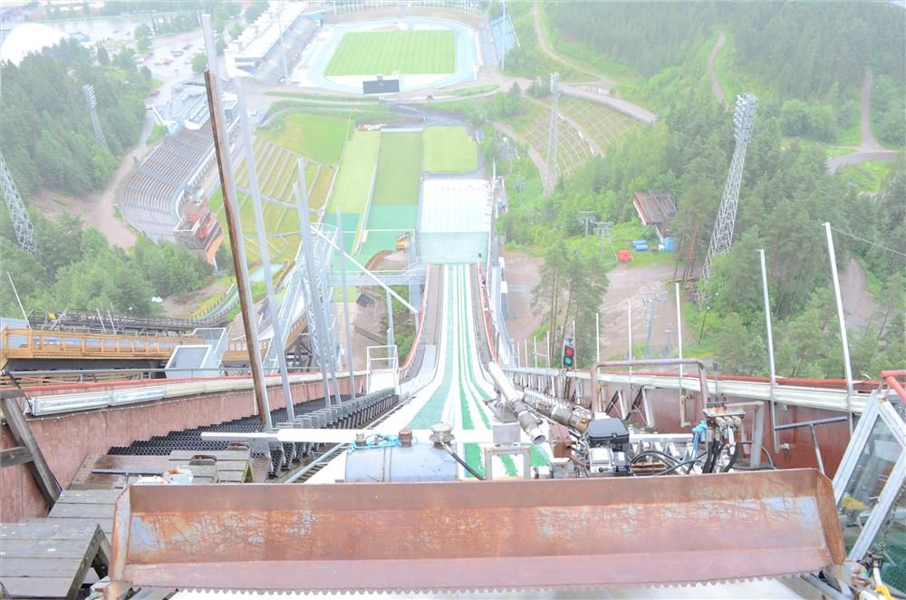 A precarious view down the ski jump at the famous Lahti Ski Club.