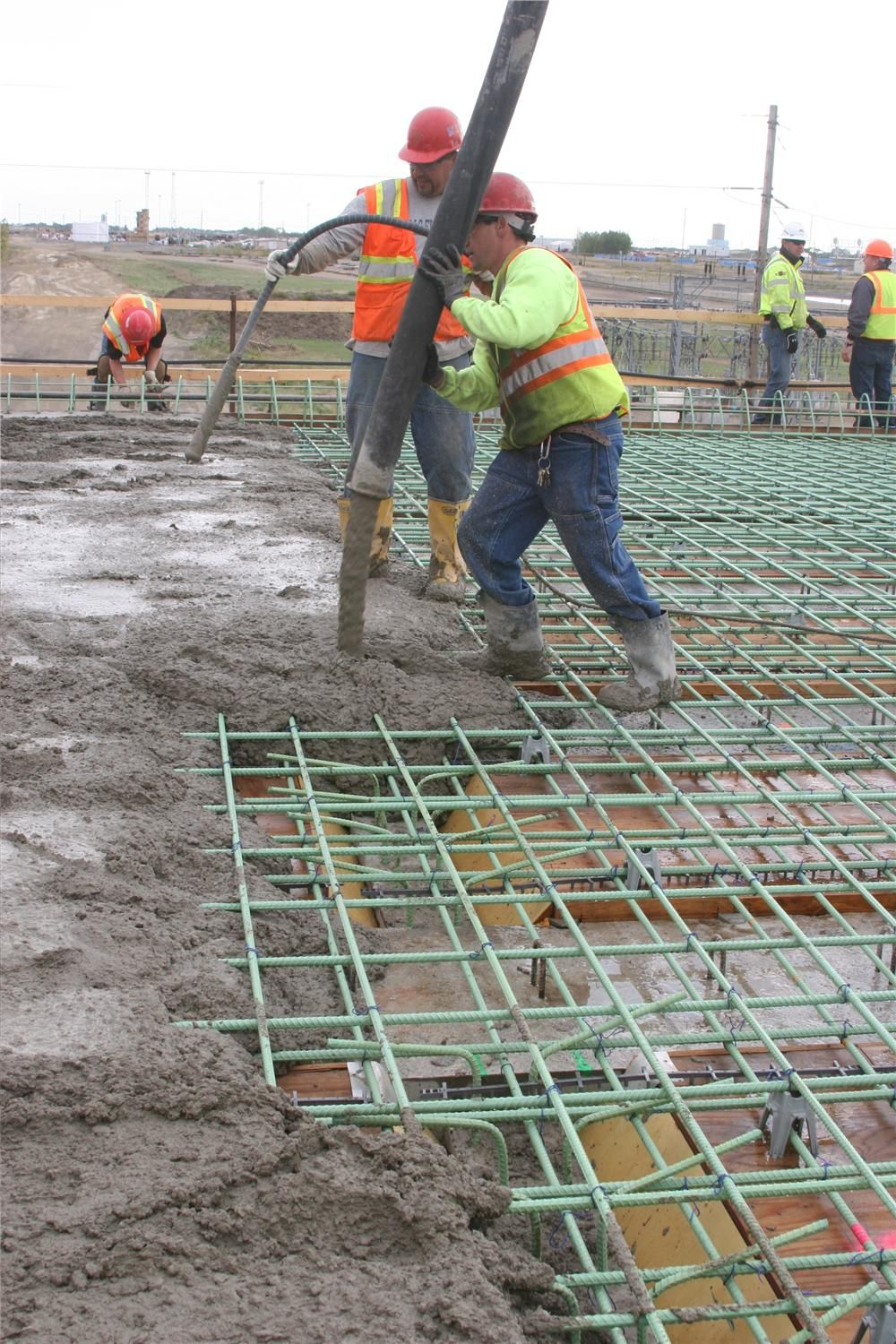 Roughly 435 cu. yds. (332.6 cu m) of concrete were poured in one day.