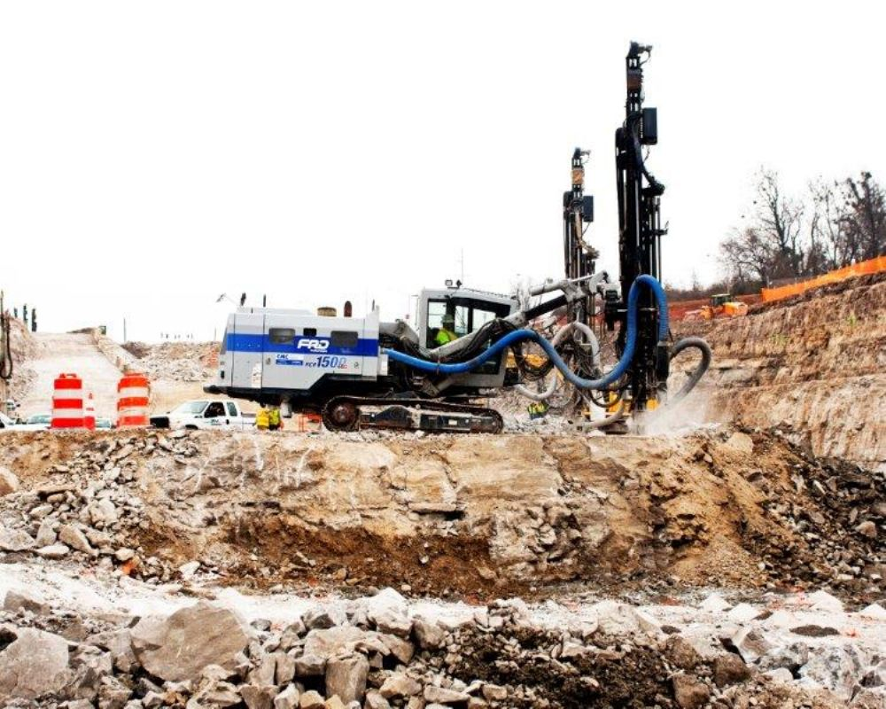 HTA Enterprises is using five Furukawa HCR1500 rock drills on the Kentucky side and two Furukawa HCR 1500 rock drills and two HCR900 rock drills on the Indiana side of the project.