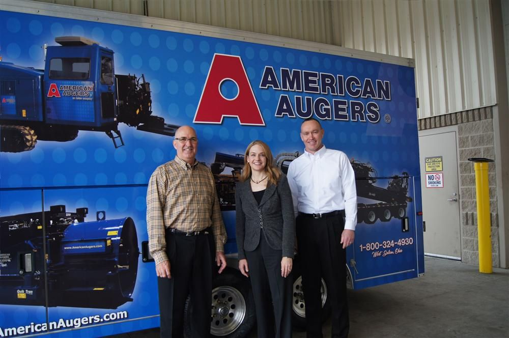 (L-R) are Rick Johnson, CMW's chief operating officer; Tiffany Sewell-Howard, CMW's chief executive officer; and David Hammonds, American Augers general manager.