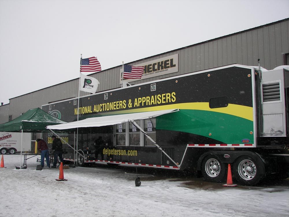 Del Peterson & Associates, a national auction company based in Fremont, Neb., travels to the sale site with its custom auction trailer
