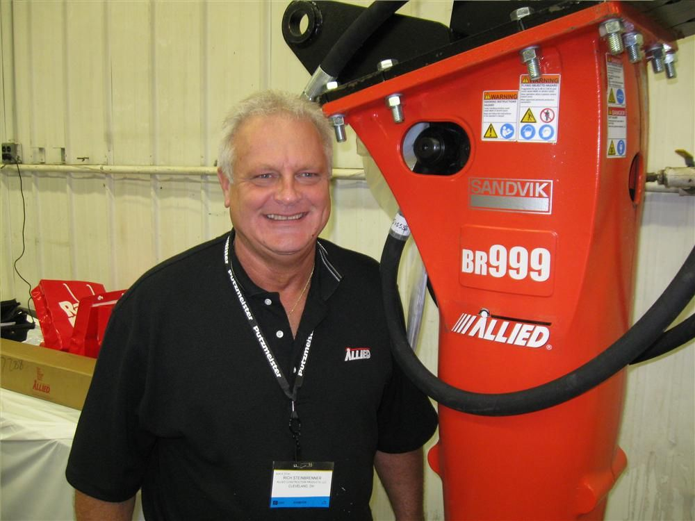 Allied Construction Products' Rich Steinbrenner had a BR999 Rammer breaker on display at the open house.