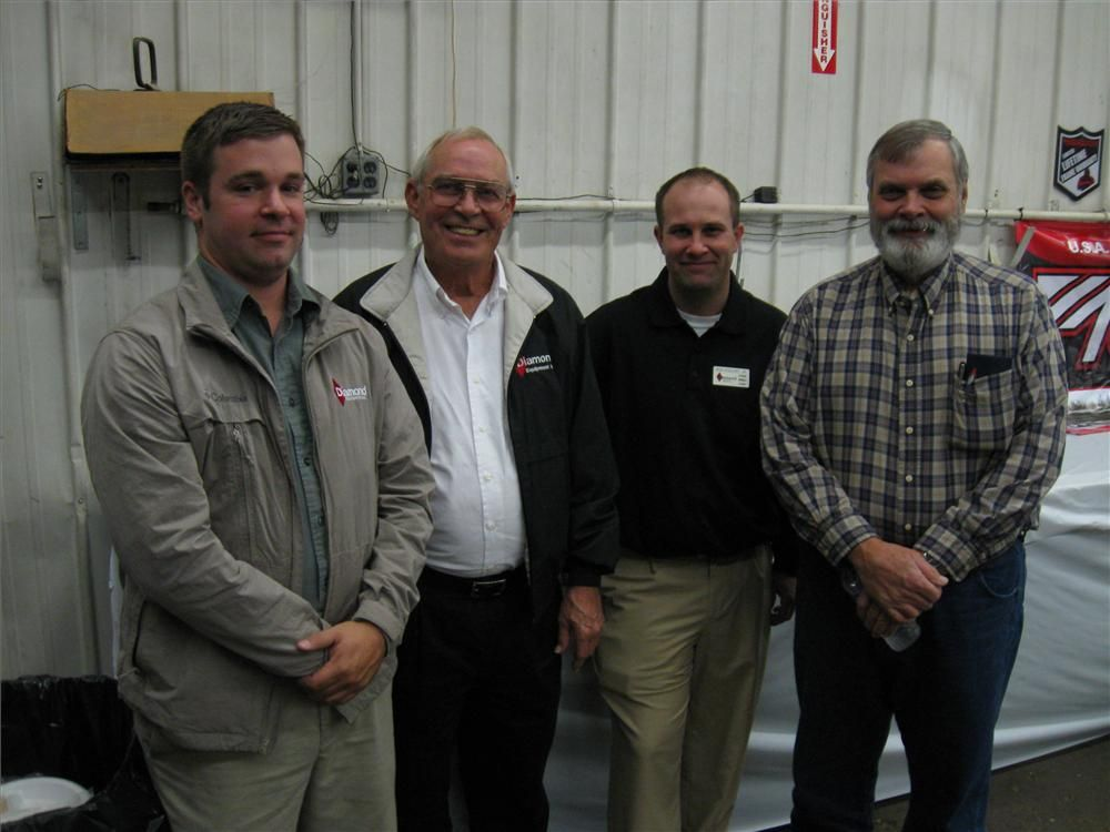 (L-R): Diamond Equipment's Dennis Stanley Jr., Logan Cloud, and Ron Englert welcome Rick Crenshaw of Crenshaw Bros. LLC to the open house.