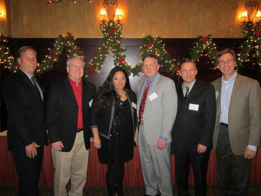 (L-R): The 2012 President Barry Heinrichs with the 2013 officers: Treasurer Tom Smith; Executive Secretary Jacki Valdez, President Robert Sloan; Vice President Tom Novak and Associate Director Steve Nenn.
