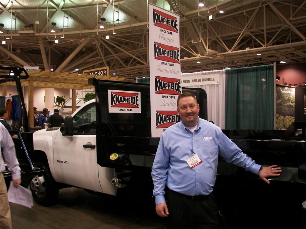 Ron (Hogz) Hogan of Merit Chevrolet, St. Paul, Minn., is eager to discuss this 2013 Chevrolet 3500HD with a Knapheide landscape body.