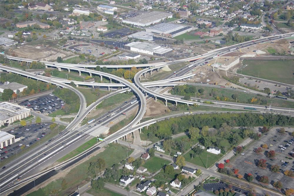 An overhead view of project Interstate 75 in Dayton, Ohio.