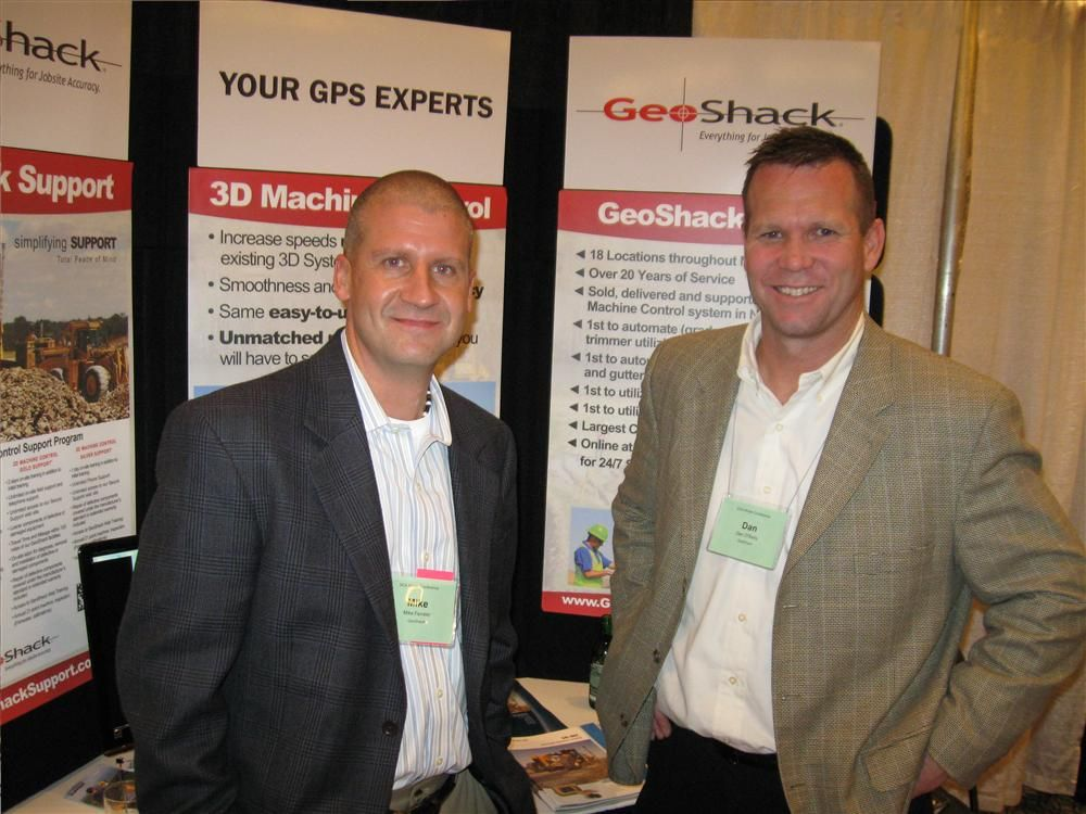 Mike Fenster (L) and Dan O'Reilley of GeoShack talked to attendees about the latest in laser and GPS technologies.