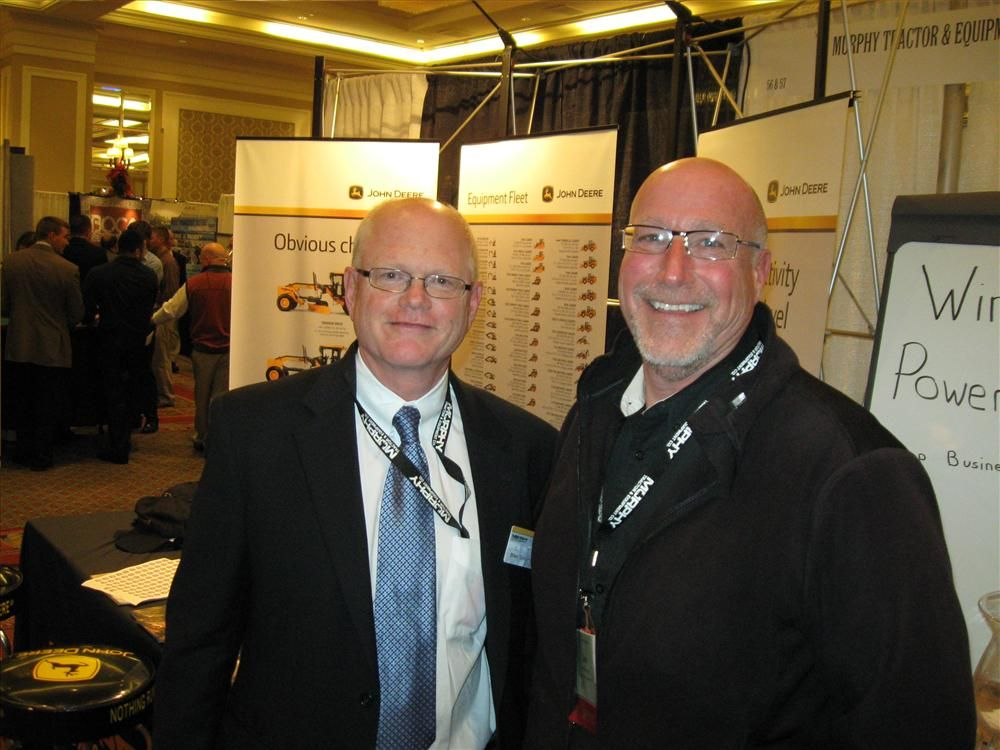 Murphy Tractor & Equipment's Mike Singer (L) and Dave Zimmerman provided information about John Deere machines.
