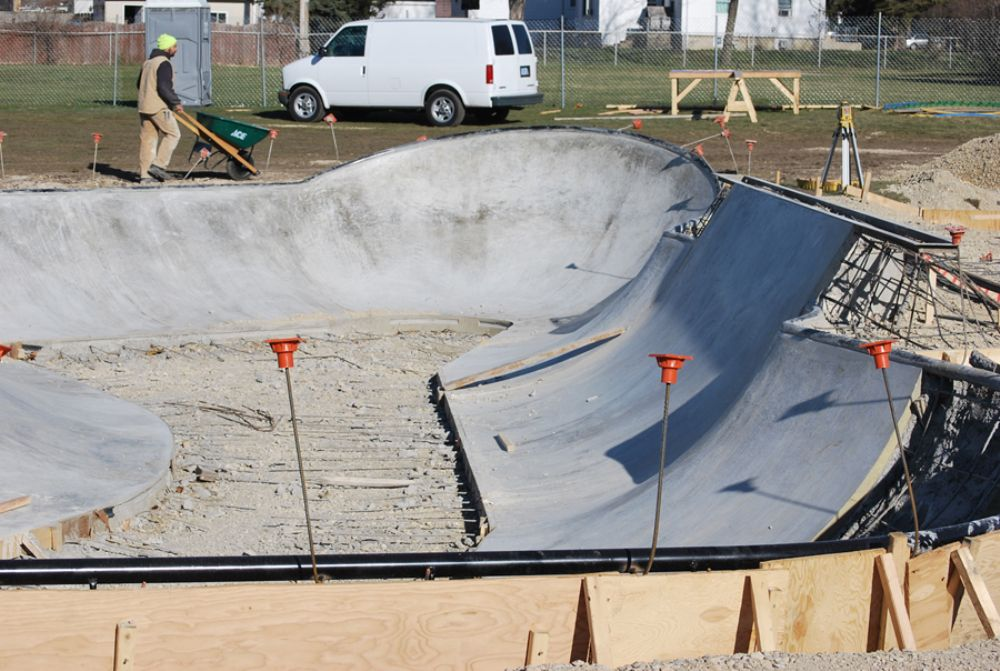 The 7,500 sq. ft. (697 sq m) concrete skatepark, designed by Grindline Skateparks, will be for inline skaters, skateboarders and BMX bikers with features for all skill levels.