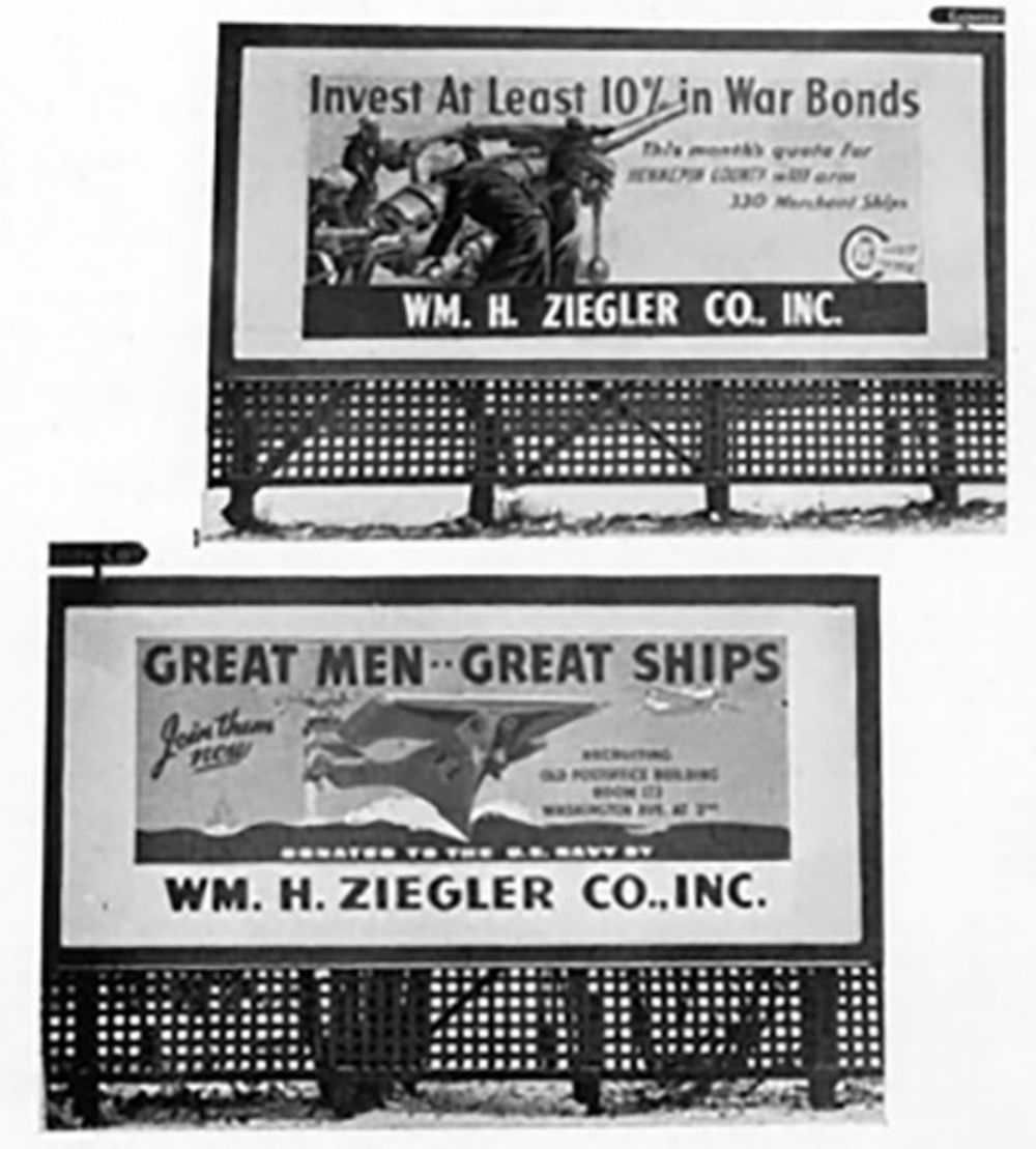 William H. Ziegler Co. Inc. supported the war effort by sponsoring and paying for bond drive billboards located in 14 cities across Minnesota. Photo taken May 1942.