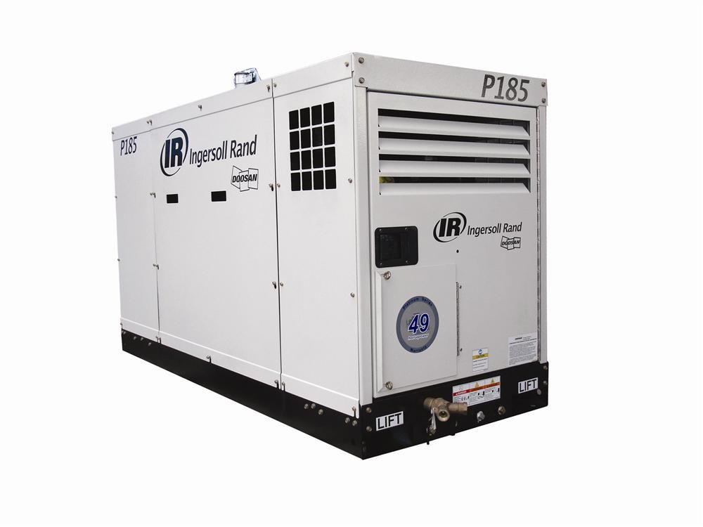 The P185WJDU offers free air delivery of 185 cfm and rated operating pressure of 100 psig.