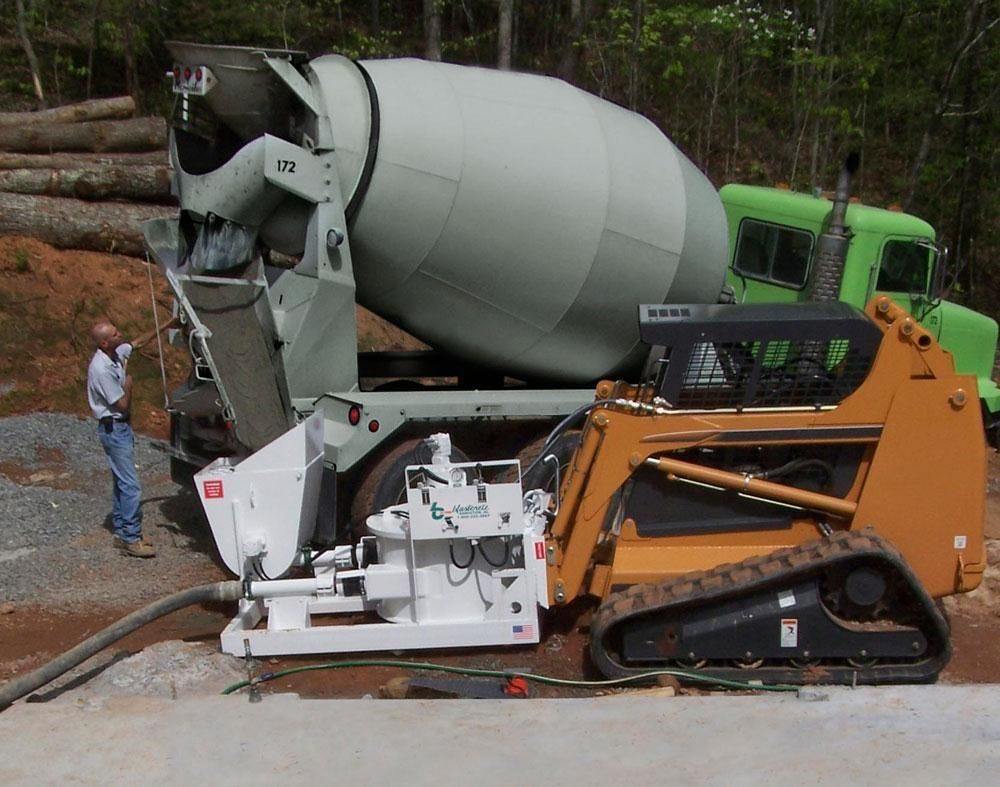 Blastcrete Equipment Company offers the Model RD6536 skid steer pump attachment.
