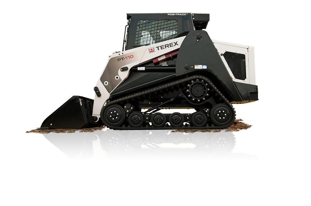 Featuring electronic, 4-cylinder, turbo-powered Perkins Tier IVi diesel engines, the new Terex PT-110G compact track loaders boast 332 ft.-lb. of peak torque at 1,400 rpm, 45 gpm (170 Lpm) of hydraulic flow and a two-speed transmission that allows travel