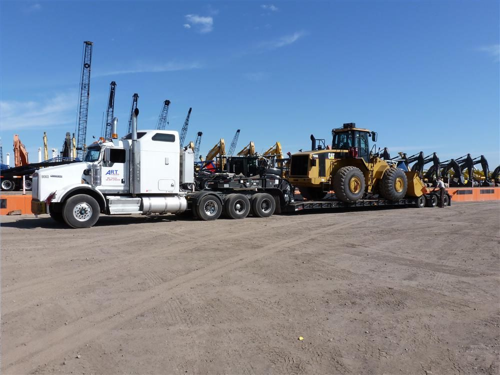 Loaded up and ready to roll. This Caterpillar 980G is headed to its new home in Brownsville, Texas.