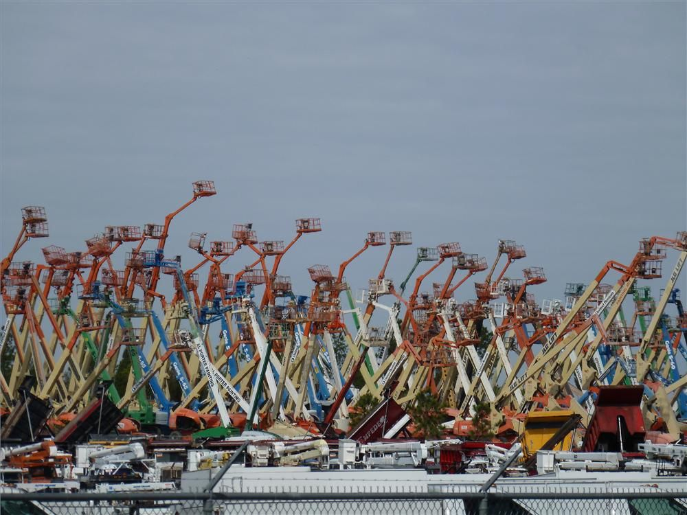 Aerial lifts of all makes and colors line the sky at Ritchie Bros.' annual auction in Orlando, Fla.