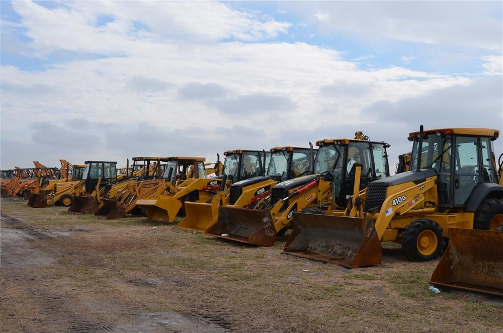 Backhoes by a host of manufacturers went up for bid.