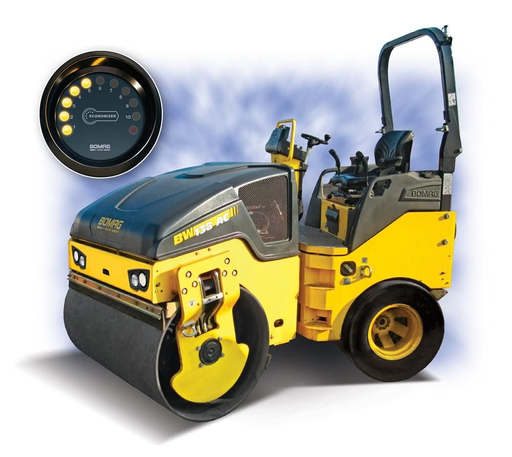The optional Bomag Economizer system enables continuous control of the compaction process. Compaction levels are indicated by an increasing number of illuminated yellow LEDs on the instrument panel display.