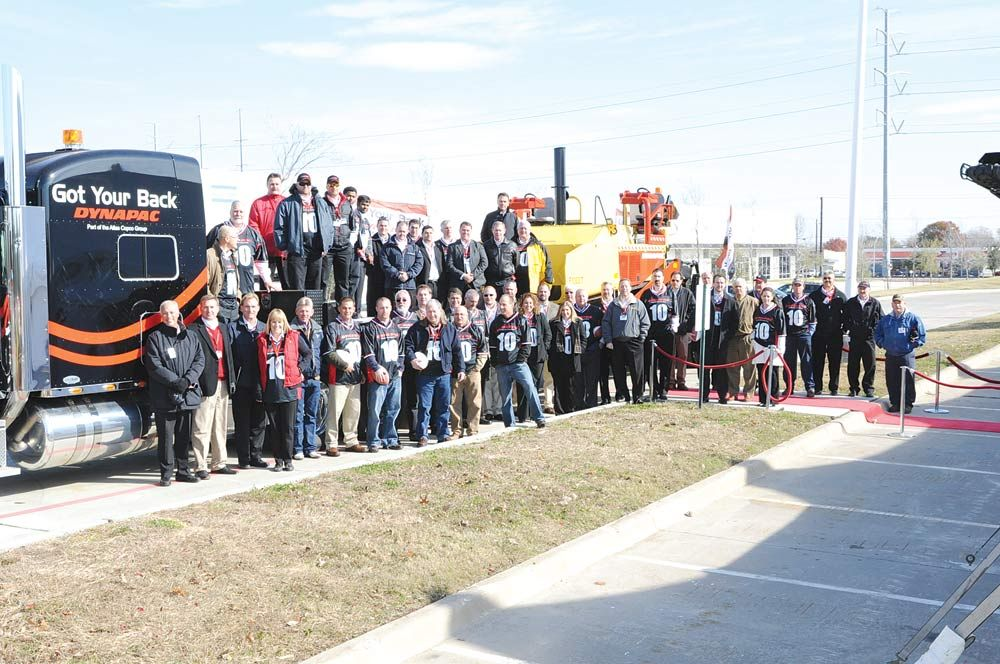 Dealer representatives from Cate Equipment, Victor L. Phillips, Construction Machinery Company and Anderson Equipment, as well as Dynapac and Atlas Copco executives and employees from around the world, joined Dynapac USA at its Garland, Texas, facility to