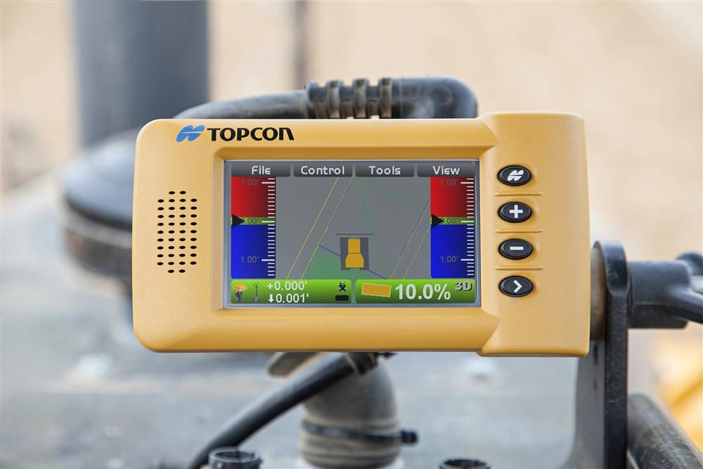 Topcon's 3D indicate grade system — the i33 — features GNSS technology and a graphical display.
