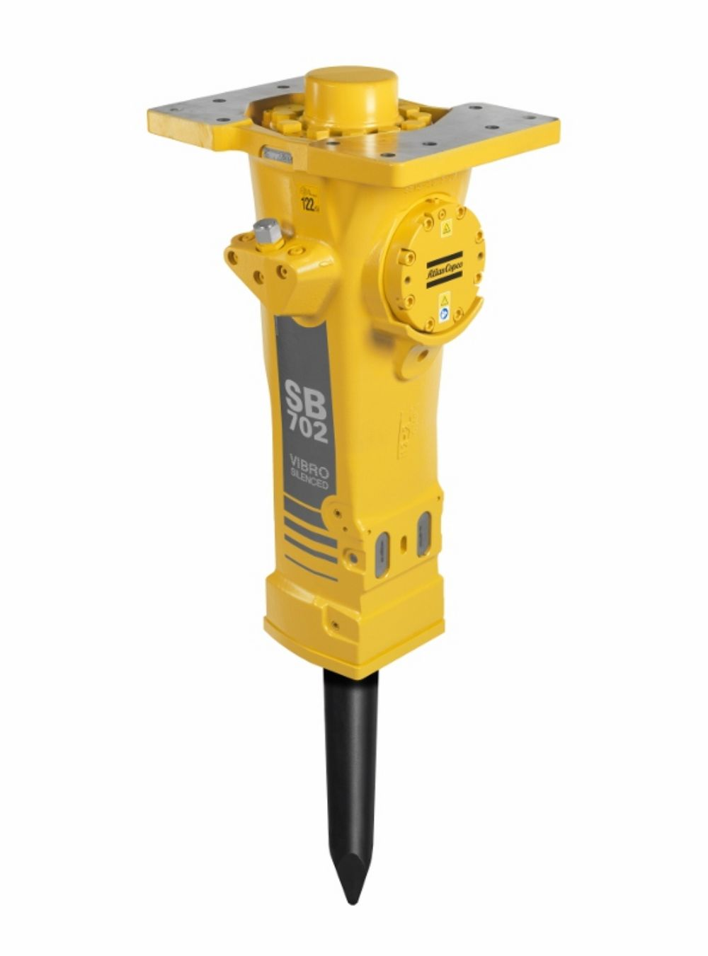 The Atlas Copco SB 702 hydraulic breaker is designed with a solid body.