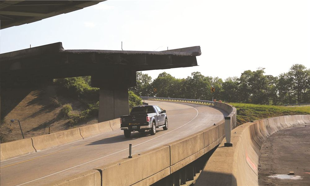 The view drivers see on the ramp from southbound I-81 to eastbound Cameron Street when approaching what used to be the underpass under the eastbound Route 22 bridge. There is still 17 ft. of clearance between this ramp and what's left of the bridge