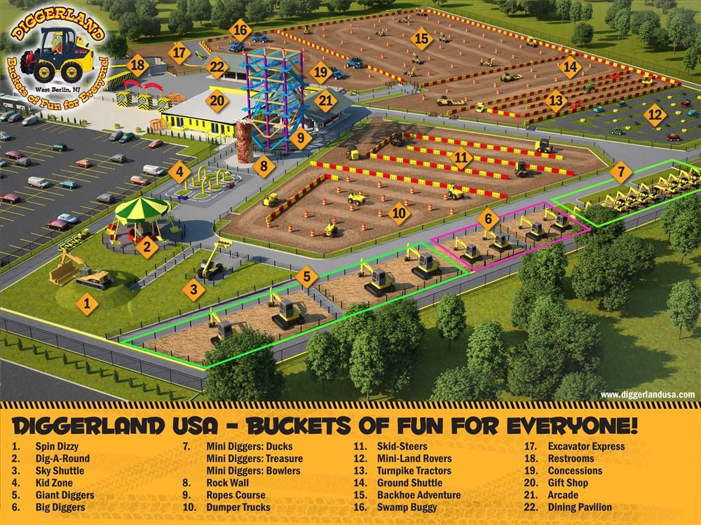 DiggerlandUSA.com photo More than 20 attractions will be offered at Diggerland USA, including a number of train rides, an arcade, rock climbing, a ropes course and the swamp buggy attraction, an off-road multi-passenger ride. Sand pits and play areas wil