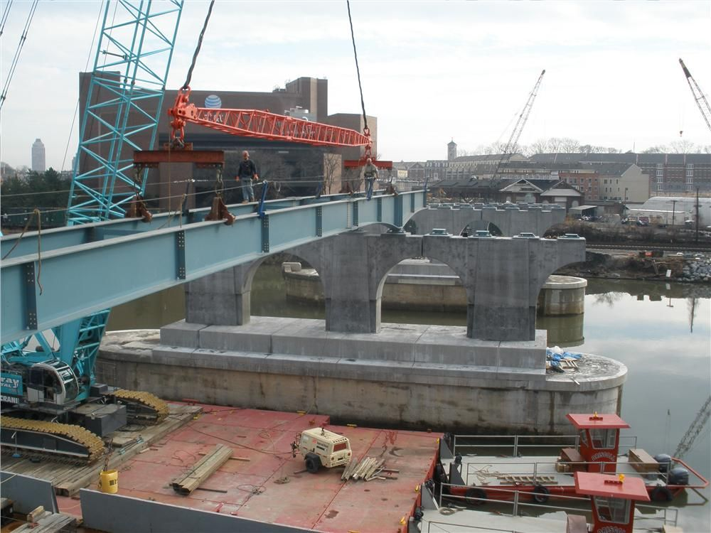 The project consists of 12 bridge spans while the concrete deck has been placed on eight. Span 9 steel erection is shown here.