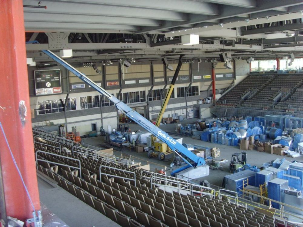 Photo courtesy of the Erie Otters Hockey Club. Interior work continues on the Erie Insurance Arena.