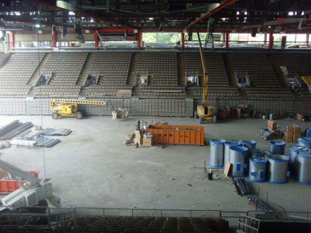 Photo courtesy of the Erie Otters Hockey Club. Center ice from the suite level, where the temporary press box will be set up for 2012-13.